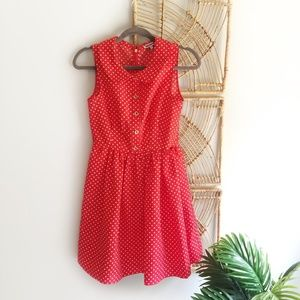 Juicy Couture Red Polka Dot Dress Gold Button Up